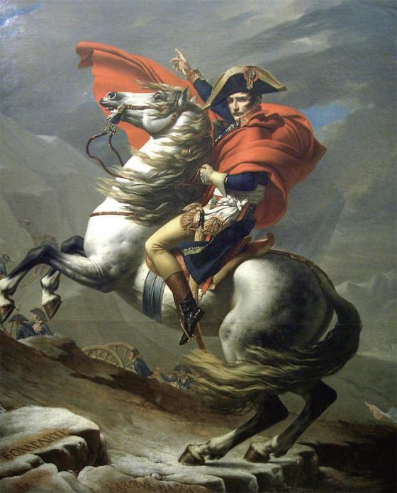 자크 루이 다비드의 '성 베르나르 협곡을 넘는 나폴레옹'(1801). 그림과 달리 나폴레옹은 백마가 아닌 노새를 타고 현지 주민이 길 안내하는 대로 따라갔다고 한다.[중앙포토]