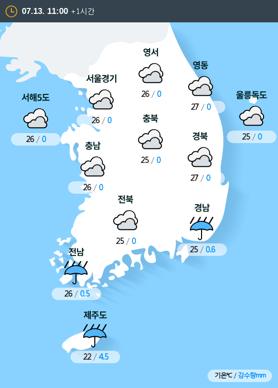 2019년 07월 13일 11시 전국 날씨