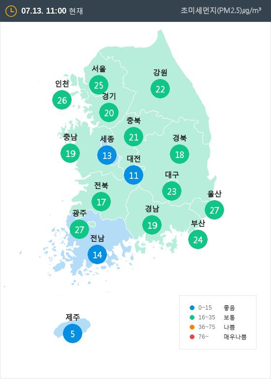 [7월 13일 PM2.5]  오전 11시 전국 초미세먼지 현황