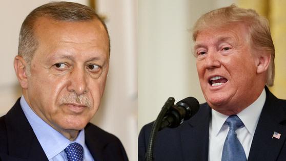 레제프 타이이프 에르도안 터키 대통령(왼쪽)과 도널드 트럼프 미국 대통령.[AP·신화사=연합뉴스]