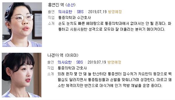 수정된 간호사 캐릭터 설명. [사진 SBS]
