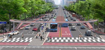 버스전용차로 위에서 달릴 수 있는 자전거 전용도로. [사진 서울시]