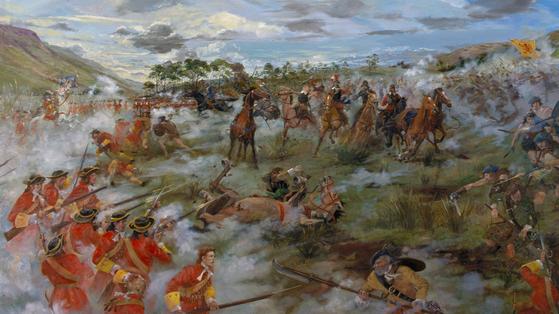 클리클랭키 전투에서 칼과 방패로 무장한 스코틀랜군에게 참패한 영국군. 이 전투 이후 플러그식 총검이 대대적으로 보급됐다. [사진 National Trust for Scotland]