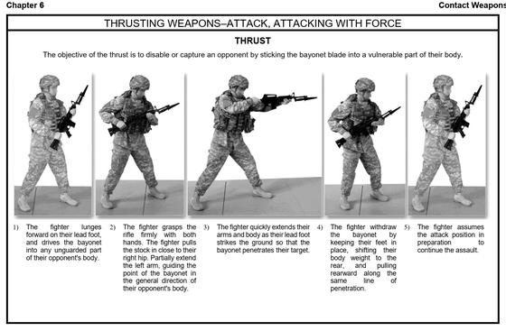 미 육군 교육회장(Training Circular) 3-25.150(2017년판)에 나온 찔러(Thrust) 총검 동작. [미 육군 출판국 캡처]