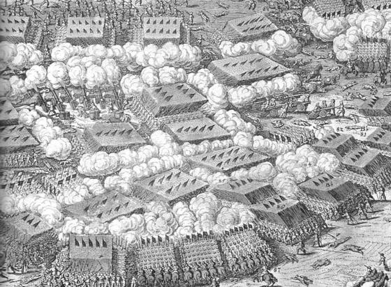 1631년 브라이텐펠트 전투를 그린 스케치화. 총병이 아퀘부스를 쏘면서 연기가 나고 있다. 총병을 지키는 창병이 총병 한가운데 밀집대형을 이루고 있다. 장창대 속에 깃발들이 보인다. [사진 Public Domain]