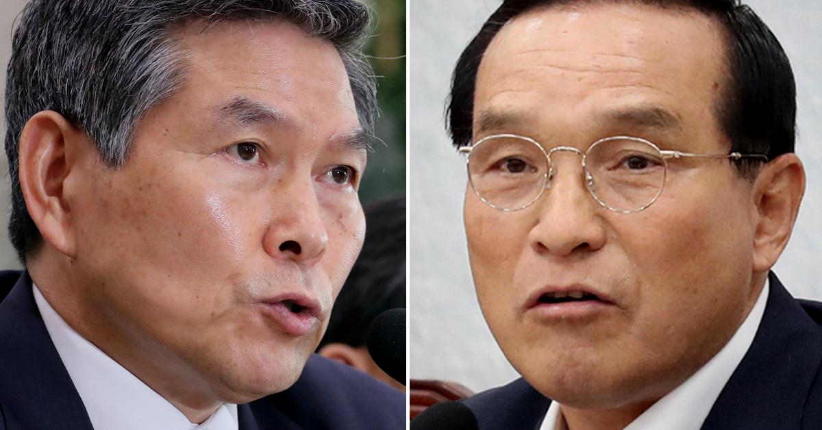 정경두 국방부 장관(왼쪽)과 김중로 바른미래당 의원. [연합뉴스]