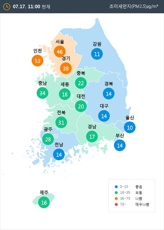 [7월 17일 PM2.5]  오전 11시 전국 초미세먼지 현황