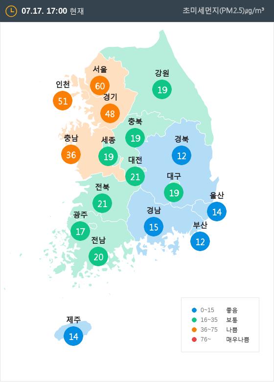 [7월 17일 PM2.5]  오후 5시 전국 초미세먼지 현황