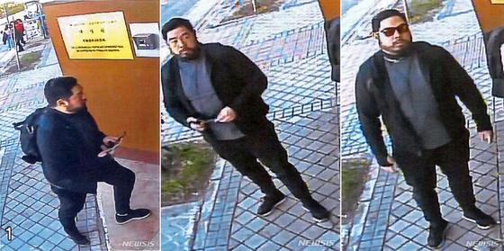 전직 미국 해병대 출신의 크리스토퍼 안으로 추정되는 인물이 지난 2월 22일 스페인 마드리드 주재 북한대사관 앞에서 감시 카메라에 찍힌 모습. [뉴시스]