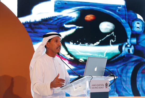 아랍에미리트연합의 모하메드 나세르 알 아흐바비 우주청 사무총장이 지난달 15일 우주청 설립 5주년 기념행사에서 연설을 하고 있다. [EPA=연합뉴스]