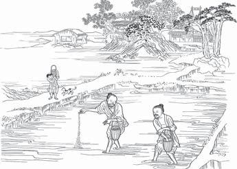 농부들이 씨를 뿌리는 모습. [임원경제연구소]