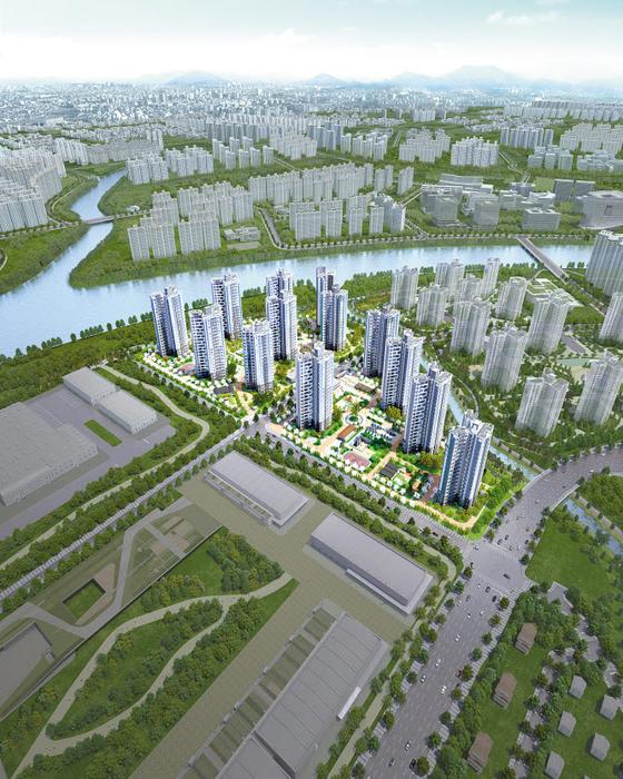 1·2·3차와 3027가구의 브랜드타운을 형성하는 송산대방노블랜드 5,6차 조감도.