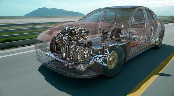 하반기 출시되는 신형 쏘나타 터보에 적용되는 CVVD 엔진과 파워트레인 투시도. [사진 현대자동차]