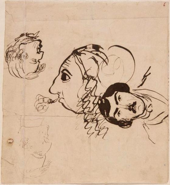 조르주 상드가 그린 캐리커쳐. 쇼팽, 들라크루아와 함께 자기 자신을 그렸다. 프랑스 협회 도서관의 로방줄 컬렉션(Collection Lovenjoul de l'Institut de France) 소장.