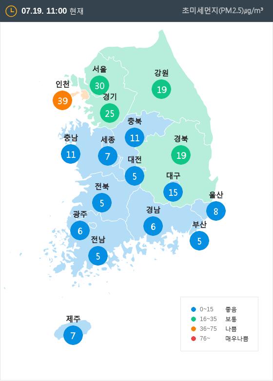 [7월 19일 PM2.5]  오전 11시 전국 초미세먼지 현황