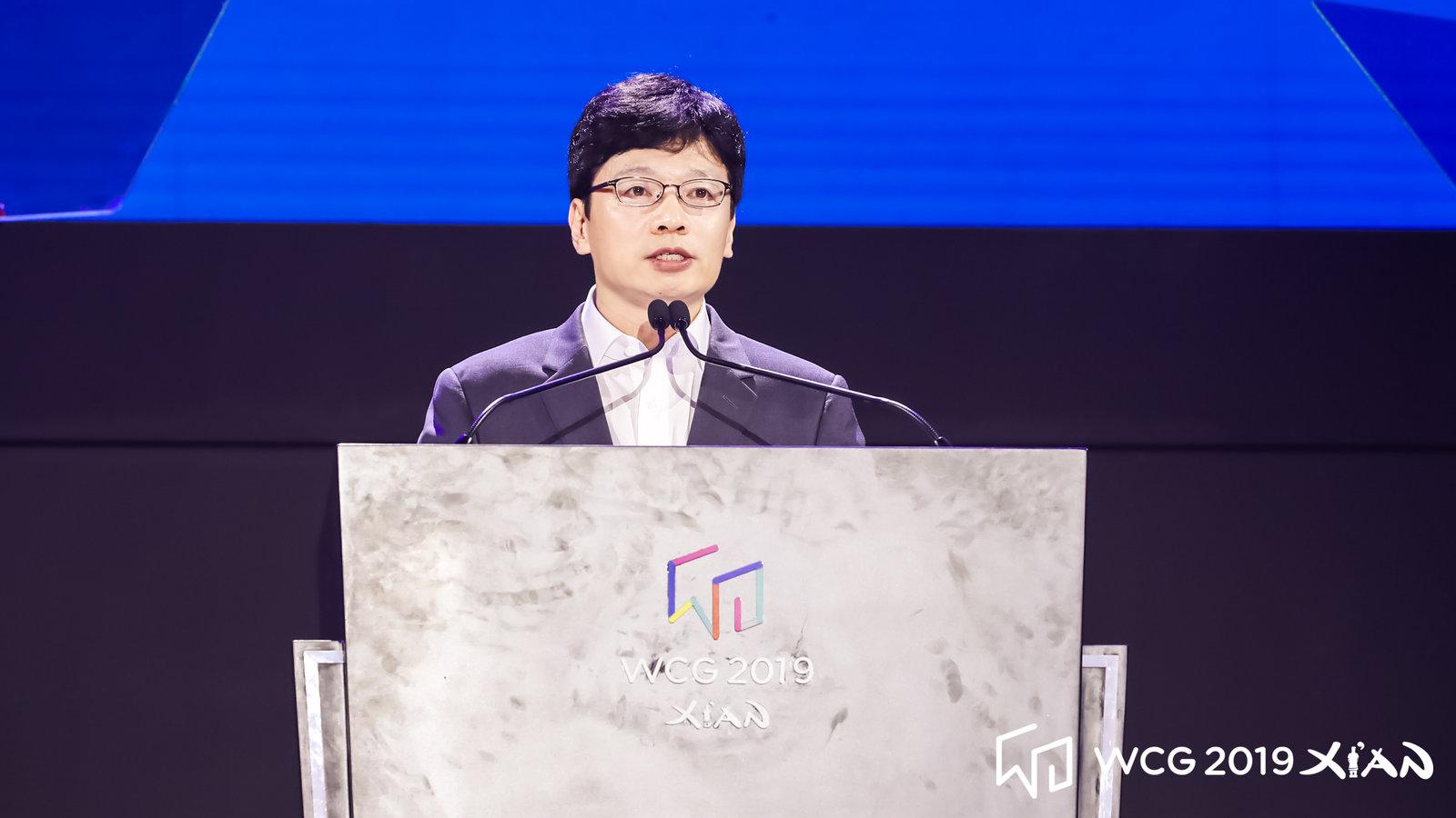 권혁빈 WCG조직위원장이 18일 중국 시안에서 `WCG 2019 시안`의 개막을 선포하고 있다. WCG 제공