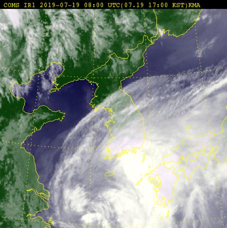 19일 오후 5시 30분 기준 위성사진. [자료 기상청]