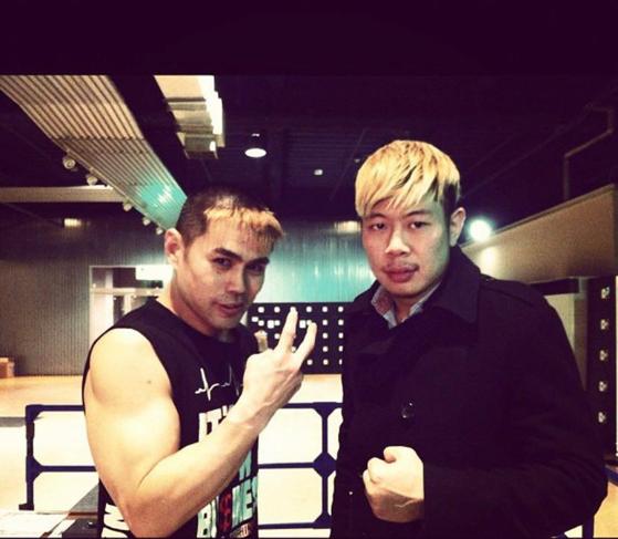 타카 미치노쿠(왼쪽)와 김남석. 김 선수는 타카 미치노쿠를 정신적인 스승으로 모신다고 했다. [사진 김남석]
