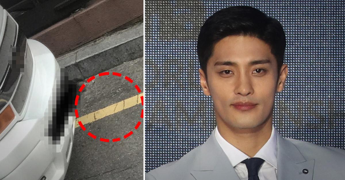 18일 온라인커뮤니티에 성훈 측 차량에 대한 글과 사진(왼쪽)이 올라왔다. [사진 네이트판·연합뉴스]