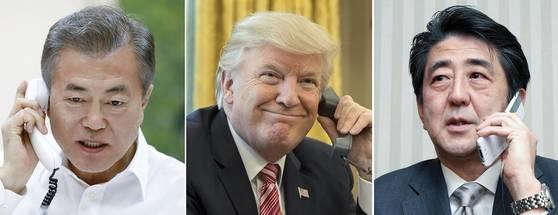 사진 왼쪽부터 문재인 대통령과 도널드 트럼프 대통령, 아베신조 일본 총리. [연합뉴스 ]