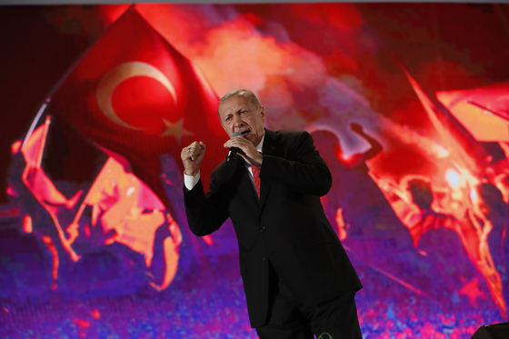 쿠데타 진압 3주년을 맞은 15일(현지시간) 에르도안 터키 대통령이 연설하고 있다.[AP=연합뉴스]