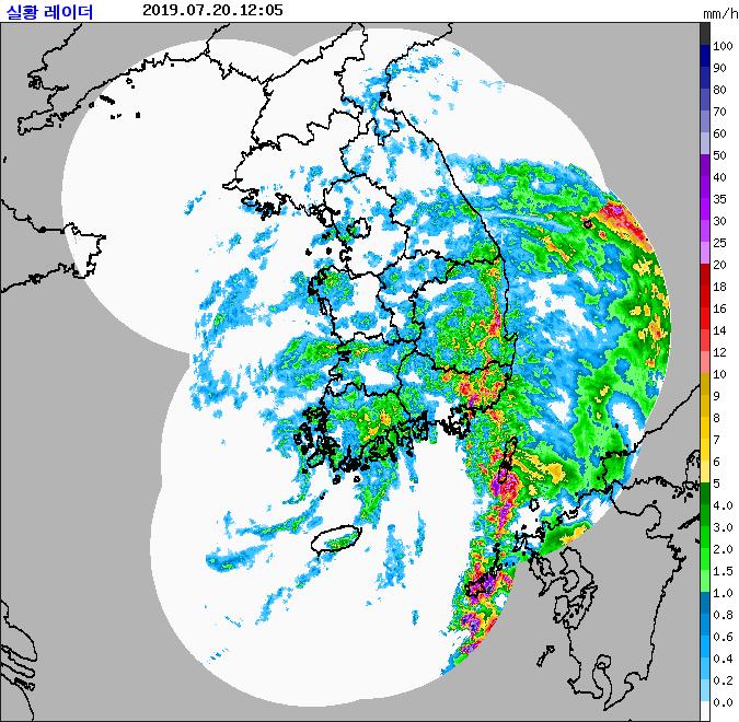 기상청 강우 레이더에 잡힌 비구름 (20일 오후 12시 5분) [자료 기상청]