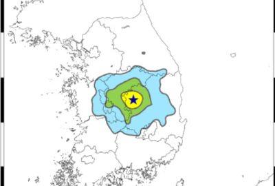 21일 오전 11시 4분 경북 상주에서 발생한 규모 3.9 지진의 예상 강도. [사진 기상청]