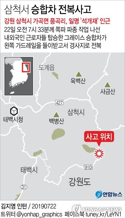 강원도 삼척 그레이스 승합차 전복사고 위치도. [연합뉴스]