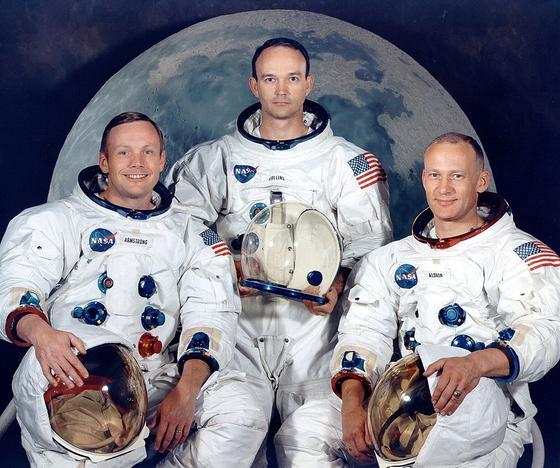 아폴로 11호의 우주인들. 왼쪽부터 암스트롱, 마이클 콜린스, 올드린. [AP=연합뉴스]