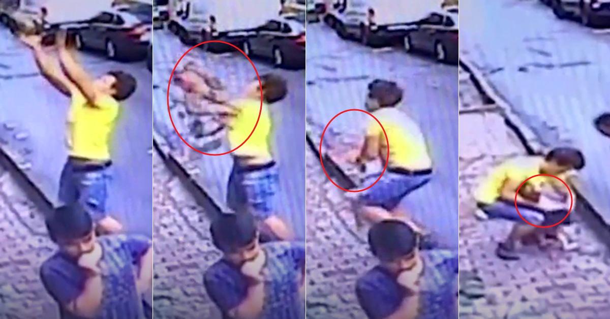 아파트 2층서 아기가 떨어지자 두손을 벌려 받아낸 파우지 자바르. [THE SUN유튜브 영상 캡처]