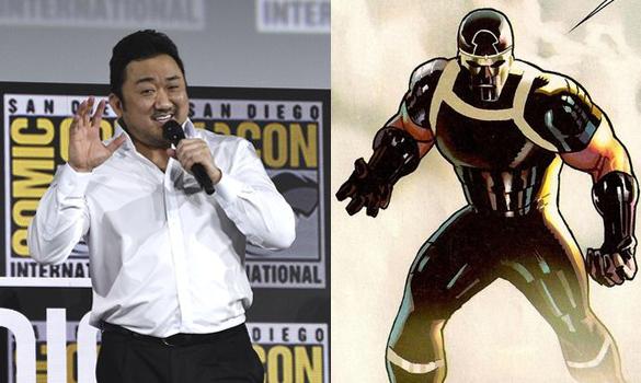 20일 미국 샌디에고에서 열린 코믹콘 행사장에 참석한 마동석(왼쪽), 영화 '이터널스'의 '길가메시' 캐릭터. [AP=연합뉴스, 트위터]