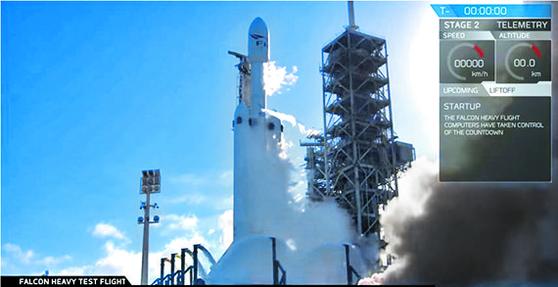 민간우주업체 스페이스X사의 '팰컨 헤비' 로켓이 발사 대기 중이다. [사진 스페이스X]