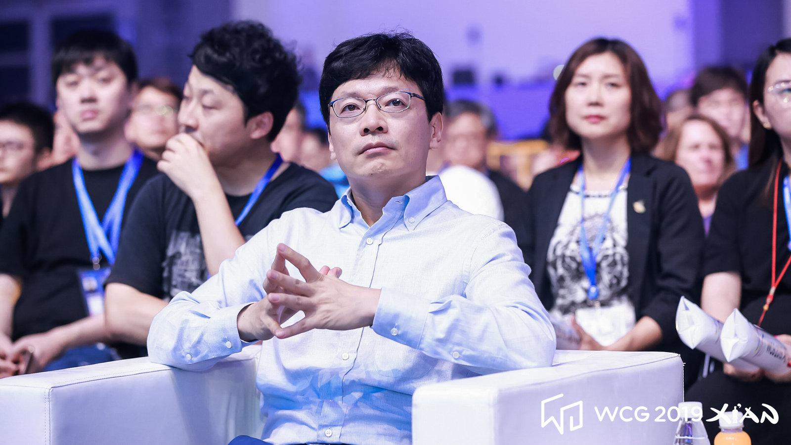 권혁빈 WCG 조직위원장이 21일 WCG 2019 폐막식을 지켜보고 있다. WCG 제공
