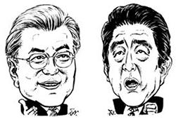 문재인 대통령(左), 아베 신조 총리(右)
