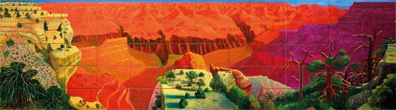 호크니,'더 큰 그랜드 캐니언',(1998, 60개의 캔버스에 유채, 207ⅹ744.2 cm) © David Hockney, Photo Credit: Richard Schmidt, Collection National Gallery of Australia, Canberra [사진 서울시립미술관]