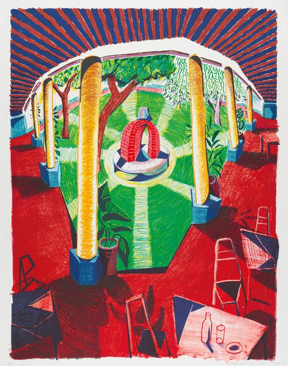 """호크니의 석판화, """"호텔 우물의 경관 Ⅲ ,1984 – 5, 123.2 ⅹ 97.8 cm). © David Hockney / Tyler Graphics Ltd., Photo Credit: Richard Schmidt. [사진 서울시립미술관]"""