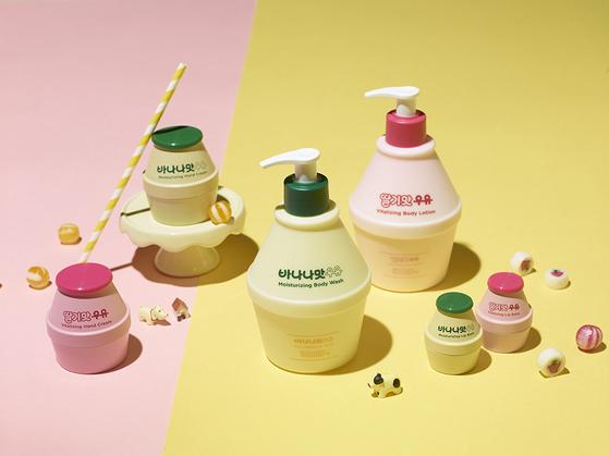 올리브영과 협업해 탄생한 '바나나맛우유 코스메틱'은 단지 모양의 용기에 립밤과 바디용품을 담았다. [사진 빙그레]