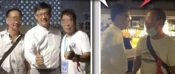 홍콩의 친중파 입법회 의원 허쥔야오가 21일 백색테러에 가담한 것으로 보이는 흰옷 차림의 사람들과 엄지척 포즈를 취하거나 등을 두드리며 격려하는 모습을 보이고 있다. [중국 환구망]