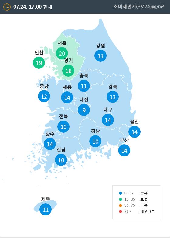 [7월 24일 PM2.5]  오후 5시 전국 초미세먼지 현황