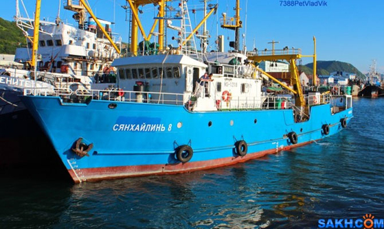 러시아 홍게잡이 어선 '샹 하이 린' 8호. 이 배는 지난 16일 속초항에서 출발해 러시아로 향하던 중 기관 고장으로 동해상에서 표류, 북한 당국에 억류됐다. [사진 SAKH.COM]