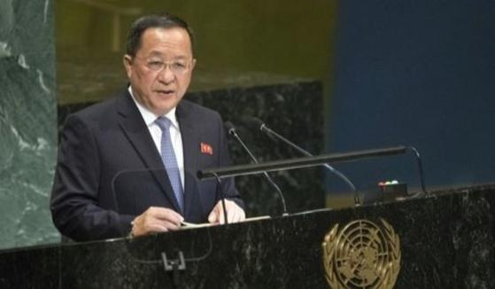 유엔 기조연설을 하는 이용호 북한 외무상. [AP=연합뉴스]