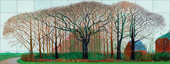 데이비드 호크니 그림엔 주변의 자연과 사람, 그리고 시간을 보고 느끼는 작가의 시선이 고스란히 담겨 있다. 사진은 50개의 캔버스에 그린 '와터 근처의 더 큰 나무들'(2007, 457.2x1220㎝), 영국 테이트 미술관 소장품. © David Hockney, Photo Credit: Prudence Cuming Associates, Collection Tate, U.K.[사진 서울시립미술관]