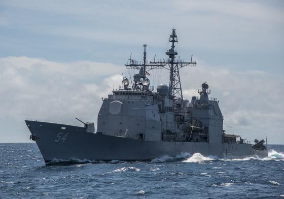 미 해군 7함대 소속 이지스 순양함인 앤티텀함이 24~25일 사이 대만해협을 통과했다. [사진 미 해군 7함대]