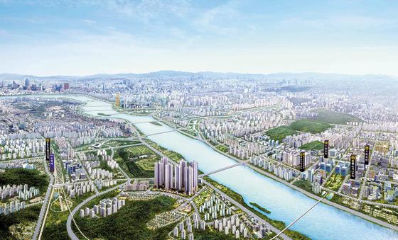 서울 강변북로 한강변을 따라 조성되고 있는 고양덕은 대방노블랜드 광역 조감도. 서울 생활권의 특급 주거지로 인기가 높다.