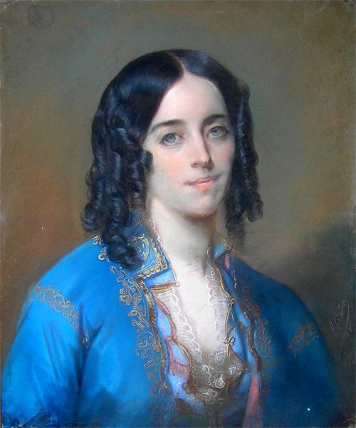 조르주 상드. 남아 있는 상드의 초상화 중 가장 색감이 살아있다. 샤를 루이 그라티아(Charles Louis Gratia)의 파스텔화, 1835년경. [출처 Wikimedia Commons (Public Domain)]