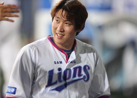 7월 27일 대구 한화전에서 동점 3점포를 터트린 삼성 김동엽. [사진 삼성 라이온즈]