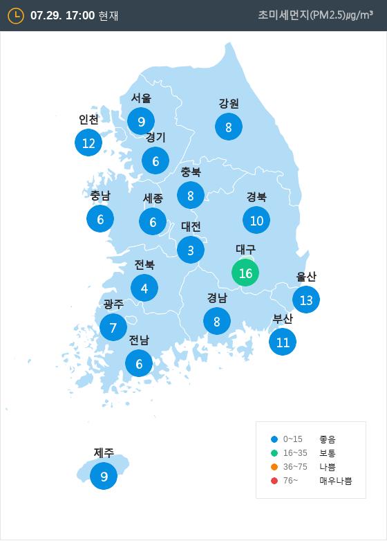 [7월 29일 PM2.5]  오후 5시 전국 초미세먼지 현황