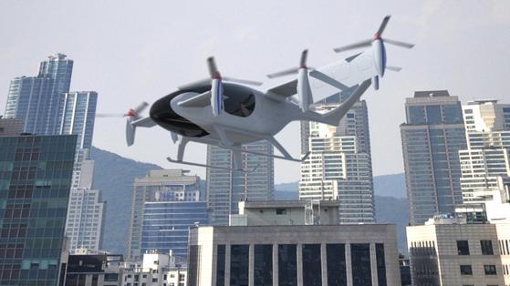 한국항공우주연구원이 개발할 PAV 예상도. 유무인 겸용 자율비행 개인용 항공기(OPPAV)를 이용했을 때 김포에서 잠실까지 약 27㎞를 12분 만에 이동할 수 있다. 교통이 혼잡한 출퇴근 통근시간이라면 승용차로 73분 걸리는 시간을 80% 이상 단축할 수 있는 셈이다. [사진 한국항공우주연구원]