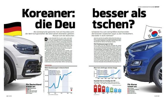 아우토모토&슈포트가 5개 현대·기아차와 5개 독일차를 비교·분석한 '한국차: 독일차보다 낫다?' 기사. 특히 수소전기차 부문에서 현대차 넥쏘를 높이 평가했다. [사진 아우토모토&슈포트]
