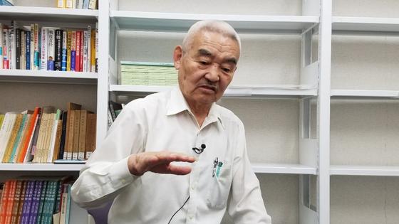 다나카 히로시(田中宏) 히토쓰바시대학 명예교수가 1일 중앙일보와 인터뷰를 하고 있다. [유재영 JTBC기자]